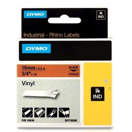 Dymo RhinoPRO 18436 -19mm X 5,5m Оранжев Винил/Черен Надпис