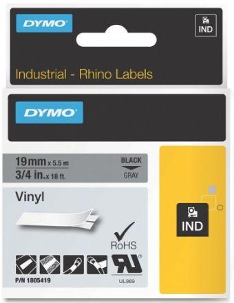 Dymo RhinoPRO 1805419  -19mm X 5,5m Сив Винил/Черен Надпис