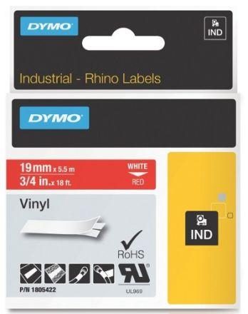 Dymo RhinoPRO 1805422  -19mm X 5,5m Червен Винил/Бял Надпис