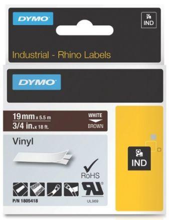 Dymo RhinoPRO 1805418 - 19mm X 5,5m Кафяв Винил/Бял Надпис