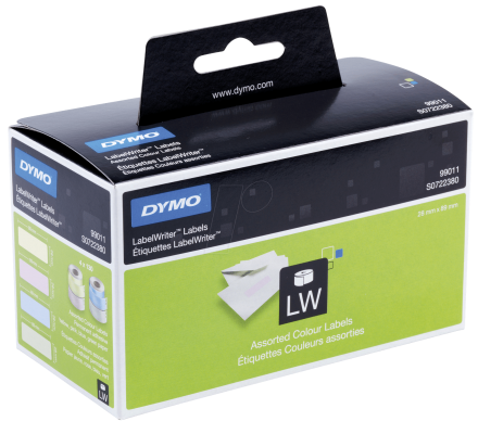 Dymo 99011 Standard Address Labels 28x89mm in 4 Assorted Colours