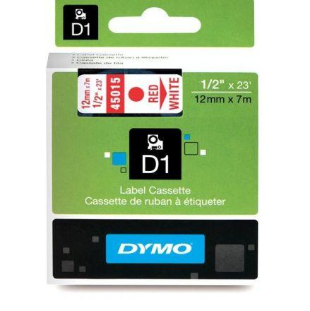 ЛЕНТА D1 - Dymo 45015, 12mm X 7m, бяла, червен надпис