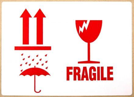 "Етикети ""Fragile"", ""Keep dry"", ""This side UP"", 80mm x 110mm, 150бр."