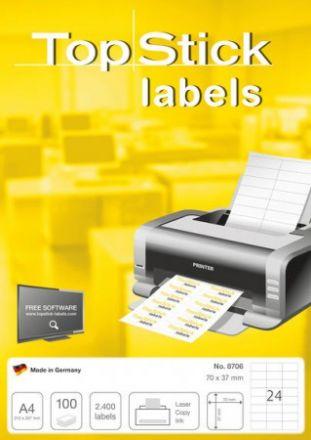Самозалепващи етикети A4 HERMA TopStick A4, 70mm X 37mm, бели, заоблени ъгли, 24бр./л., 100 л./пак.