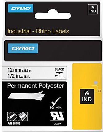 Dymo IND Rhino 18483, S0718210  Перманентен, Траен полиестер 12mm X 5,5m, бели