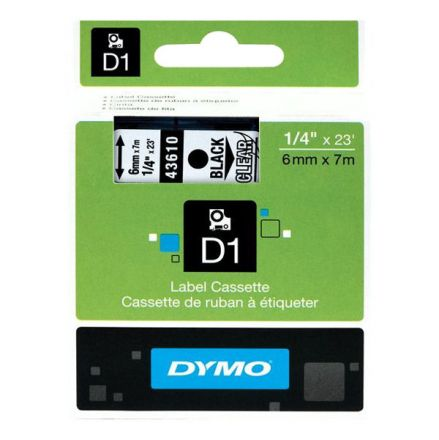 Dymo D1 43610 Tape 6mm x 7m Black on Clear