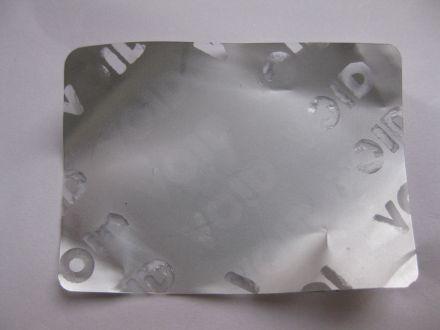 Напечатан защитен гарaнционен етикет, стикер - тип VOID, 44mm X 32mm, matt silver