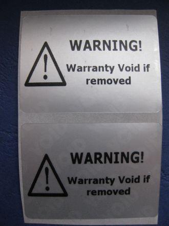 """Универсален напечатан защитен гарaнционен етикет """"ВНИМАНИЕ! ГАРАНЦИОНЕН СТИКЕР"""" - тип VOID, 44mm X 32mm, matt silver, сребрист"""
