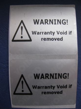 "Универсален напечатан защитен гарaнционен етикет ""WARNING! Warranty VOID if removed"" - matt silver VOID, 45mm X 30mm, сребрист"