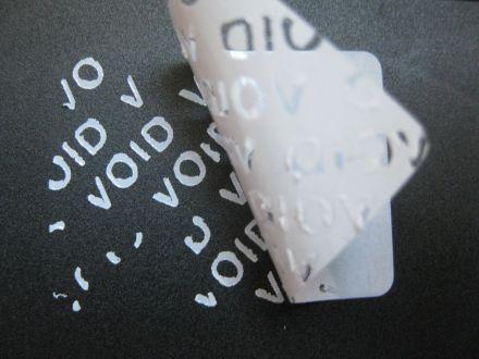"""Универсален напечатан защитен гарaнционен етикет """"ВНИМАНИЕ! ГАРАНЦИОНЕН СТИКЕР"""" - тип VOID, 35mm X 26mm, бял"""