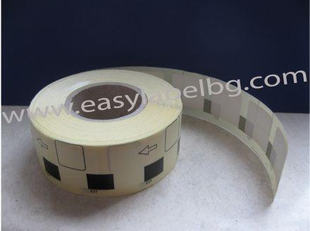 Термодиректни етикети с черна марка, 23mm х 23mm /1/ 1 000бр., Ø40mm