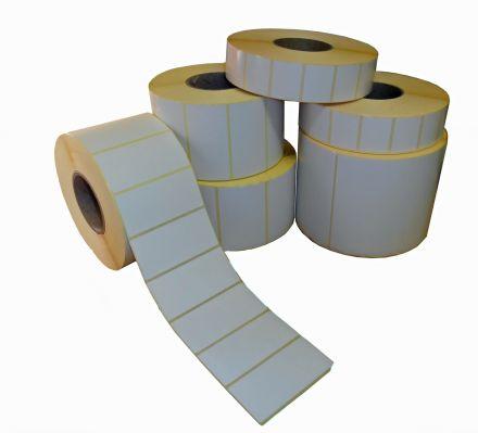 Самозалепващи етикети на ролка, бели, 60mm X 37mm