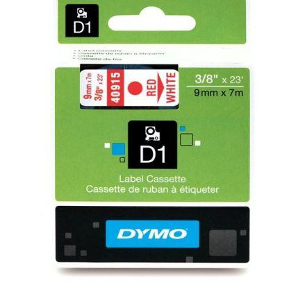 ЛЕНТА D1 - Dymo 40915, 9mm X 7m, бяла, червен надпис