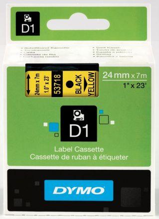 ЛЕНТА D1 за Dymo Label Manager, 24mm X 7m, жълта, черен надпис
