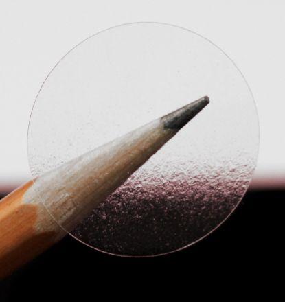 Прозрачен самозалепващ се кръгъл стикер от PVC фолио, Ø25mm, 500бр., с черна марка(репер)