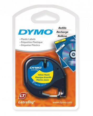 Оригинална DYMO LetraTag 91202, пластмасова лента, 12mm x 4m, жълта