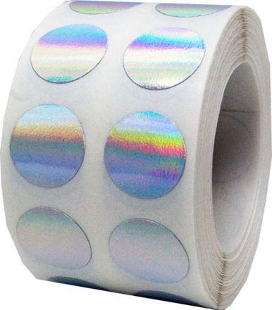 Kръгъл стикер от самозалепващo PVC фолио - Shimmer labels - имитация на холограмен стикер, Ø25mm /3/ 6 000бр., Ø40mm