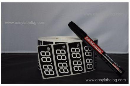 Етикети за цени, от PVC самозалепващо се фолио, ръчно надписване, на ролка, 60mm X 27mm, 2 000бр.+подарък маркер за надписване