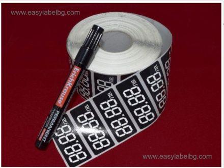Етикети за цени от PVC фолио, 4 цифри, 60mm x 27mm, 2 000бр. + подарък маркер за надписване