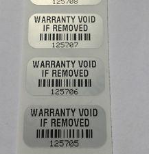 Защитни, гарaнционни етикети - тип VOID, 40mm X 15mm, matt silver, 1 000бр.