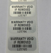 Защитни, гарaнционни етикети - тип VOID, 40mm X 15mm, matt silver, 2 000бр.