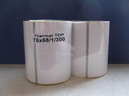 Термодиректни етикети DATECS, бели, 75mm x 58mm