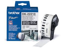 Консуматив Brother DK-22210 Roll White Continuous Length Paper Tape 29mm X 30.48m (Black on White)