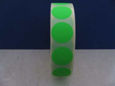 Зелени самозалепващи кръгли етикети на ролка, сигнален цвят, Ø35mm, 1250бр.