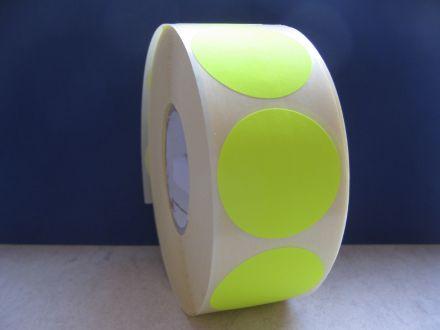 Самозалепващи етикети,сигнален цвят: жълт, ф35mm,брой на ред: 1, в ролка: 1250бр., шпула Ф40mm