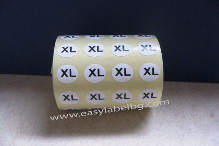 Етикети за РЪСТОВИ МАРКИ XL, бели с черен надпис, Ø10mm, 1 600бр.