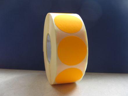 Самозалепващи етикети,сигнален цвят:оранжев, ф35mm,брой на ред: 1, в ролка: 1250бр., шпула Ф40mm