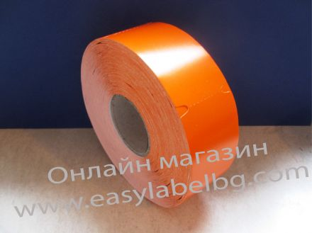 Етикети за стелажи на ролка, термотрансферен картон, 38mm х 70mm, оранжеви, 900бр.
