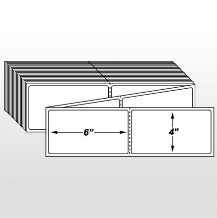 Самозалепващи етикети на пачка(fanfold), с перфорация, за допечатване, бели от хартия, 100mm x 150mm /1/ 1 000, Ø76mm