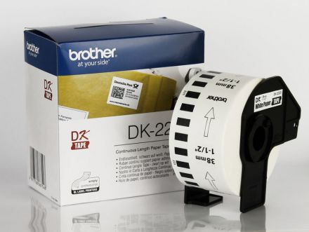 Непрекъсната бяла хартиена лента Brother DK-22225, 38mm x 30.48m, Roll White Continuous Length Paper Tape (Black on White)