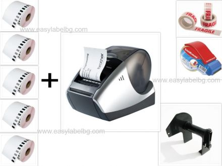 Brother QL-570 Professional Label Printer+5 x Brother Compatible DK2205RN Printer Label 66mm Roll+Holder