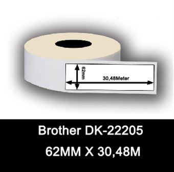 Brother DK-22205 White Continuous Paper Roll 62mm X 30.48m, Black on White
