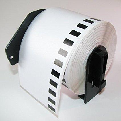 Непрекъсната бяла хартиена лента Brother DK-22205, 62mm X 30.48m, Roll White Continuous Length Paper Tape, Black on White, (съвместими), със стойка