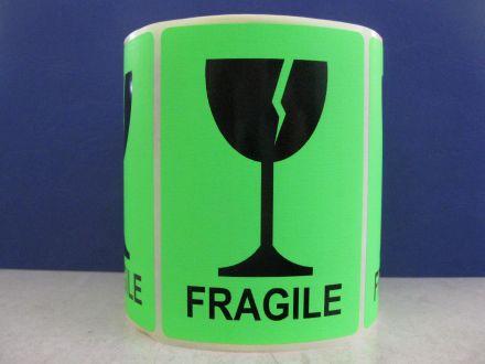 """Флуоресцентно зелени етикети """"Fragile"""", 100mm x 70mm, черен надпис на зелен фон, 200бр."""