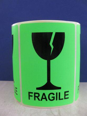 """Етикети """"Fragile"""", 100mm x 70mm, черен надпис на червен фон, 200бр."""