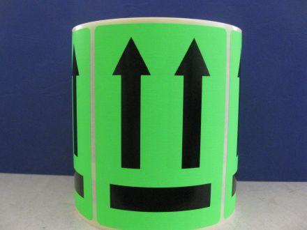 """Флуоресцентно зелени етикети """"Тази страна нагоре"""", 100mm x 70mm, черен надпис на зелен фон, 200бр."""