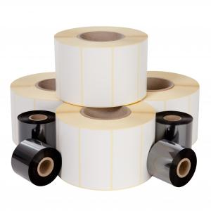 Self-adhesive label roll, white, 60mm x 37mm