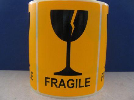 """Флуоресцентно оранжеви  етикети """"Fragile"""", 100mm x 70mm, черен надпис на оранжев фон, 200бр."""