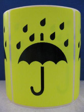"""Флуоресцентно жълти етикети """"Пази сухо"""", 100mm x 70mm, черен надпис на жълт фон, 200бр."""