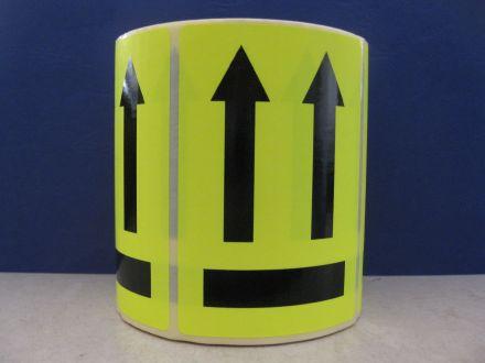 """Флуоресцентно жълти етикети """"Тази страна нагоре"""", 100mm x 70mm, черен надпис на жълт фон, 200бр."""