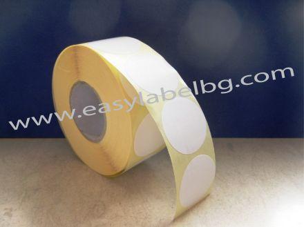 КРЪГЛИ Самозалепващи етикети на ролка, бели, Ф25mm /1/ 6 000, Ø76mm