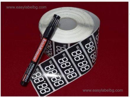 Етикети за цени от хартия, 4 цифри, 28mm x 16mm, 3  000бр. + подарък маркер за надписване