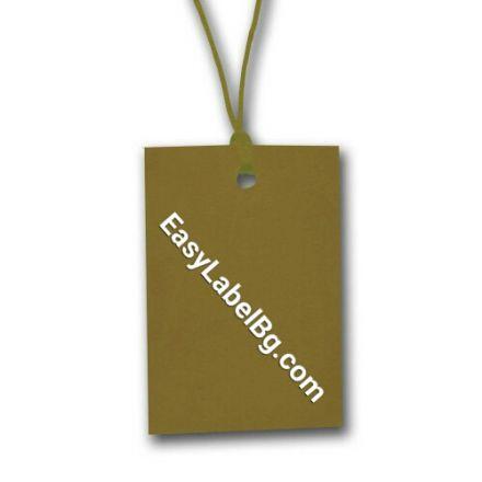 Eтикети за дрехи от картон, кафяви, 60mm x 40mm, 100бр.