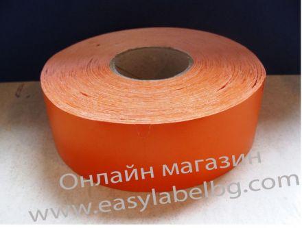 Етикети за стелажи на ролка, термодиректен картон, 38mm х 70mm, оранжеви, 900бр.