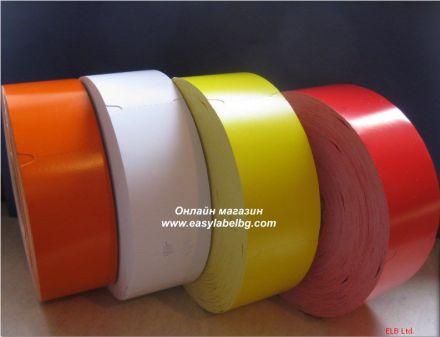 Етикети за стелажи на ролка, термодиректен картон, 38mm х 70mm, червени 900бр.