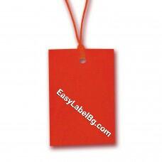 Eтикети за дрехи от картон, червени, 70mm x 43mm, 100бр.
